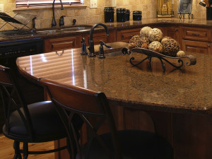 polished granite kitchen island countertop
