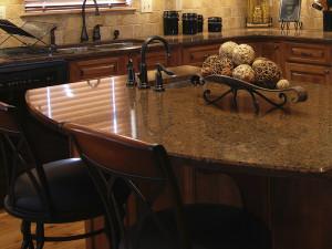 polished granite kitchen island countertop