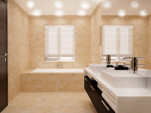 filled travertine walls floor and tub surround
